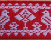 """Red Raven Crow Ribbon Trim Cotton Embroidered Trim Tapestry Ribbon Amish Bird Ribbon 1.5"""" Wide x 4 Yards"""
