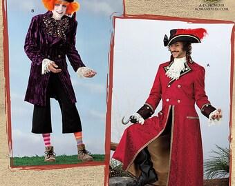 Uncut Pattern Mens Pirate Coat Pattern or Mad Hatter Pattern Jacket Top Hat Captain Hook Alice In Wonderland Roman Exile Size S Med