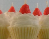 4 Mini Strawberry Shortcake Cupcake Candles, Made with Soy Wax