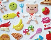 Puffy Glitter Deco Stickers - Teddy Bear Chef
