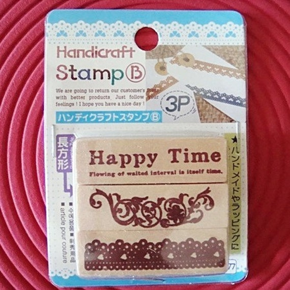 Pack of 3 Kawaii Wood Mounted Rubber Stamps - Happy Time