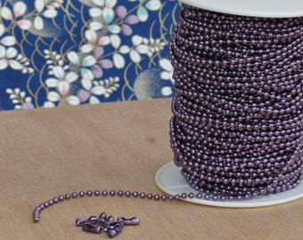 1 Spool Mauve High Quality Metal Ball Chain 2.4 mm--100 Feet with 100 connectors, Colored Ball Chain