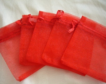 50 Pack Organza Gift bags 3 in x 4 in, Red
