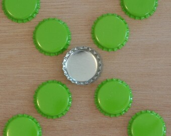 50 Lime Green/Silver Bottle Caps