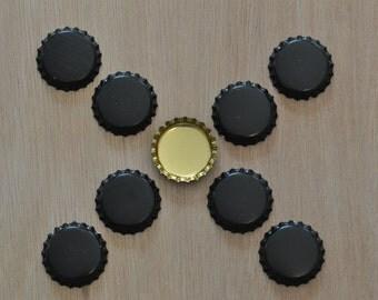 50 Black/Brass Color Bottle Caps (03-02-130)