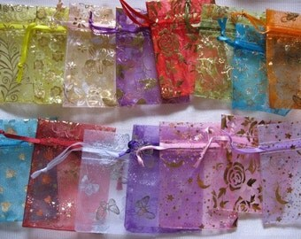 50 Pack Organza Gift bags 3 in x 4 in, Mixed Designs