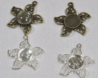 10 pcs 12mm Flower Pendant Trays with 10 Glass Cabochons 12mm Bronze or Silver, Blank Bezel Cabochon Setting
