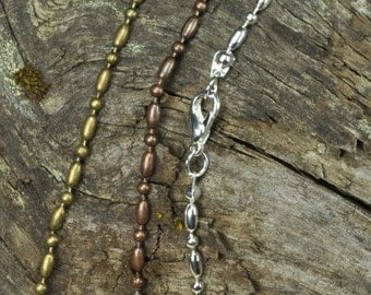 20 High Quality 20 inch Bead Bar Chains 2.4 mm with Lobster Clasp in Antique Copper, Antique Bronze or Silver to choose from