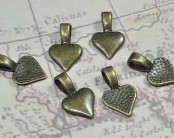Small Antique Brass Heart Bails (07-06-332)