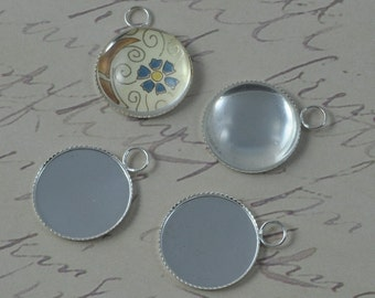 60 pcs 18mm  Silver Plated Circle 18mm Pendant Trays  (19-16-340), Blank Bezel Cabochon Setting