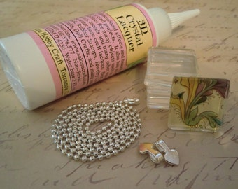 Combo DIY Necklace Pendant Kit to make 50 Glass Tile Pendant Necklaces