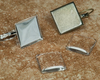 10 pcs 15mm Earring Trays with 10 Glass Square Cabochons (5 pairs) Bronze and Silver, Blank Eearring  Cabochon Setting