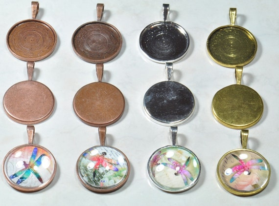 10 I inch Circle Pendant Trays(mix and match) with 10 Glass Domes Circles....Make Beautiful Pendants..You pick your colors