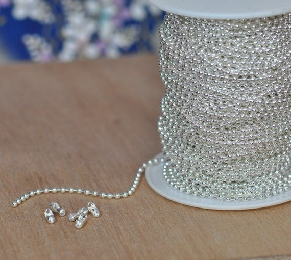 New--Shiny Silver Plated Ball Chain Spool  2.4 mm--Lead Free---100 Feet with 100 connectors.