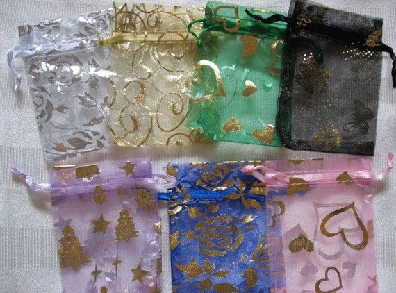 30 Organza Gift bags 2 in x 3 in, Mixed Color Designs