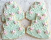 Oceanside - Wedding Cake Cookies - Wedding favors - 4.00 each