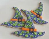 Witch Hat Cookies - Halloween Cookies - Decorated Cookie Favors - 6 Cookies