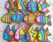 Reserved for Jen----Tropical Fish Decorated Cookie Favors - Fish Cookies - Fish Decorated Cookies - 1 Dozen