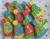 Birthday Hat Cookies - Party Hat Cookies - Birthday Cookies - 1 Dozen
