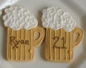 Beer Mug Cookies - Beer Mug Decorated Cookie Favors - 1 Dozen