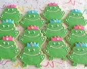 Prince Frog or Princess Frog Cookie Favors  -  FROG Decorated Cookies - 1 Dozen