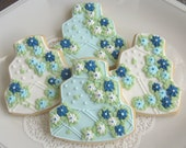 Wedding Cake Cookies- Blues and White - Wedding Decorated Cookie Favors - 4.00 each