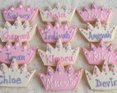 Prince and Princess  Crown  Cookies - Crown Cookie Favors - Princess Crown Cookies - Prince Crown Cookies - 1 Dozen