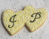 Double Heart Wedding Cookies - LGBT Wedding Cookies - Wedding Cookies - 1 Dozen
