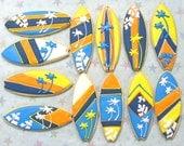 Surfboard Cookies - Surfboard Cookie Favors - Decorated Cookies - 1 Dozen