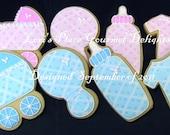 Baby Shower Cookies - Plaid Baby Shower Cookies - 1 Dozen