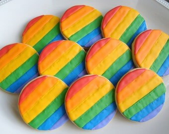 Rainbow Decorated Cookie Favors - 1 Dozen