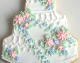 Wedding Cake Cookies - Decorated Wedding Cookies - 5.00 ea.