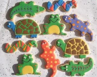 REPTILE COOKIES -  Alligator Cookies - Frog Cookies - Snake Cookies - Turtle Cookies - Lizard Cookies - 15 Cookies