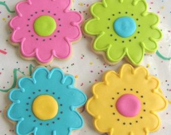 FLOWER POWER - Flower Decorated Cookies - Flower Cookie Favors - 1 Dozen
