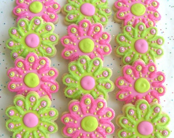 SPARKLE FLOWERS - Flower Cookie Favors - Flower Decorated Cookies - 1 Dozen