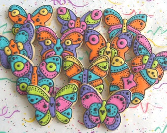 TROPICAL BUTTERFLIES - Butterfly Cookie Favors - Butterfly Decorated Cookies - 1 Dozen