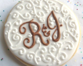 Chantilly and Lace - Monogrammed Wedding Cookies - Monogrammed Wedding Favors - Wedding Cookie Favors - 3.75 each