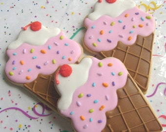 Ice Cream Cone Cookies - Favors - Large Ice Cream Cone Cookies - Ice Cream Cone Decorated cookies - 1 Dozen
