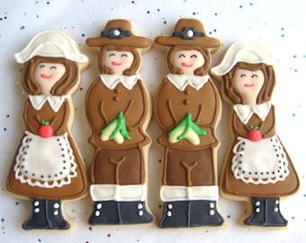 PILGRIM COOKIES - Thanksgiving Cookies-  - 1 Dozen
