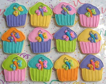 Butterfly Cupcake Cookie Favors - Cupcake Decorated Cookies - Cupcake Cookie Favors - 1 Dozen