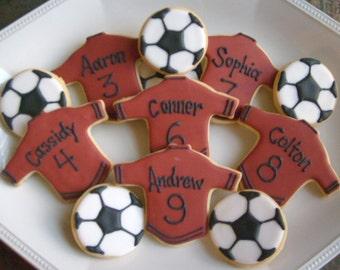 PERSONALIZED Soccer Team Cookies - Soccer  Cookies - 3.50 per set