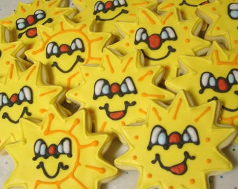 Mr. Sunshine - Decorated Cookie Favors - SUNSHINE COOKIES - SUN Decorated Cookies - Sun Cookie Favors - 1 Dozen