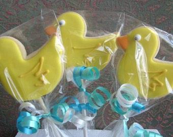 Ducky Pops - Ducky Decorated cookies - On Sticks - 1 Dozen