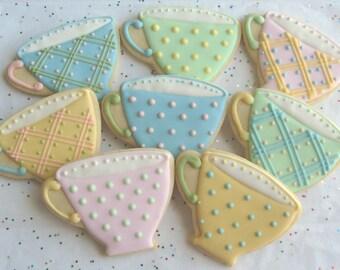 BREAK TIME - Tea Cup Cookie Favors - Tea Cup Decorated Cookies - Cookie Favors - 12 Cookies