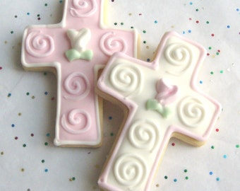 Cross Cookie Favors - First Communion Cookie Favors - Baptismal Cookie Favors - 1 dozen