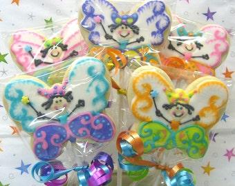 Butterfly Princess Cookie Pops - 1  Dozen
