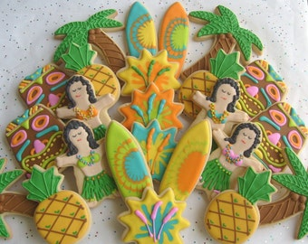 Deluxe Luau Party Cookies - Luau Cookie Favors - 24 Cookies