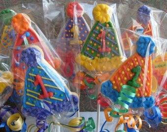 Birthday Hat Cookie Pops - Birthday Hat Cookies - 1st Birthday Cookies - Party Hat Cookies - 1 dz.