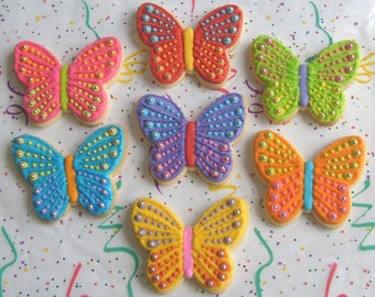 SPARKLE BUTTERFLIES - Butterfly Cookies - Butterfly Decorated Cookies - 12 Cookies