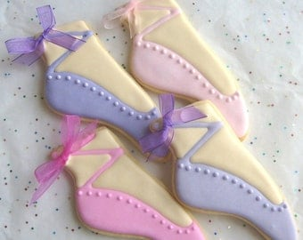 Ballet Slipper Cookie Favors - Ballet Decorated Cookies - Ballerina Cookies - 1 Dozen